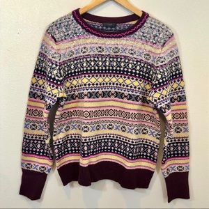J Crew Fair Isle With Sequins Sweater Size Lg